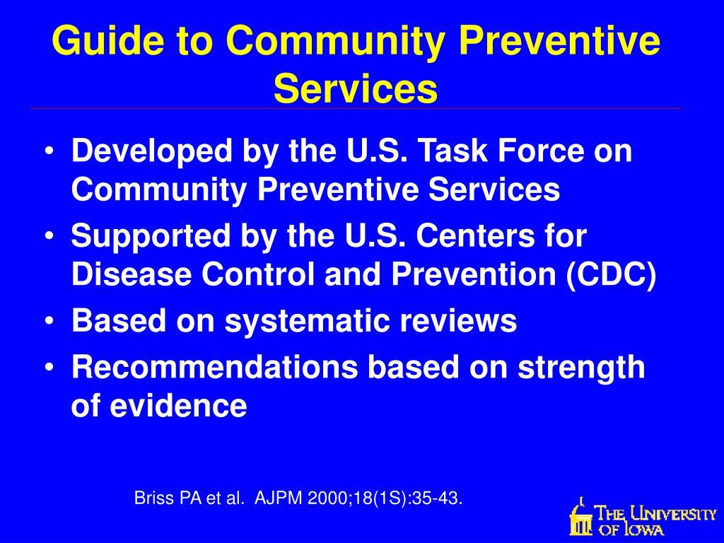 Guide to Community Preventive Services