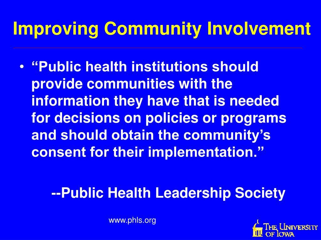 Improving Community Involvement