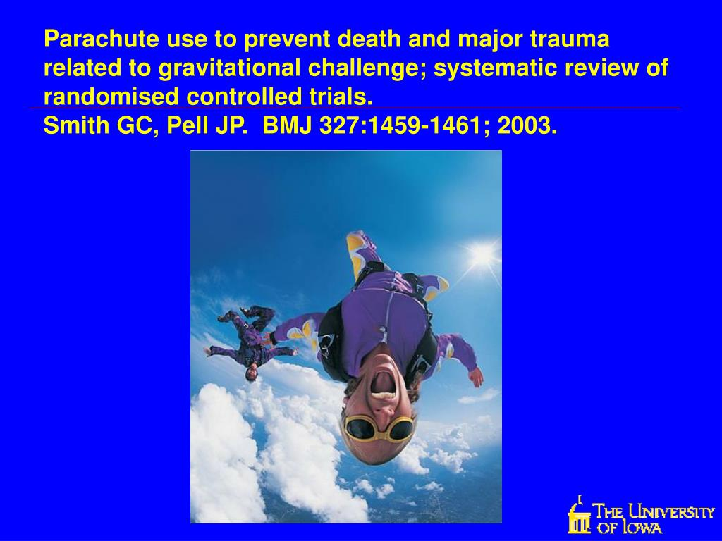 Parachute use to prevent death and major trauma related to gravitational challenge; systematic review of randomised controlled trials.