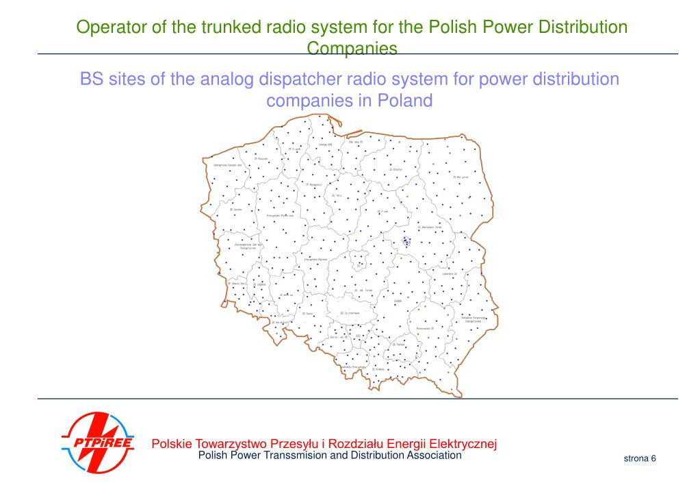 BS sites of the analog dispatcher radio system for power distribution companies in Poland