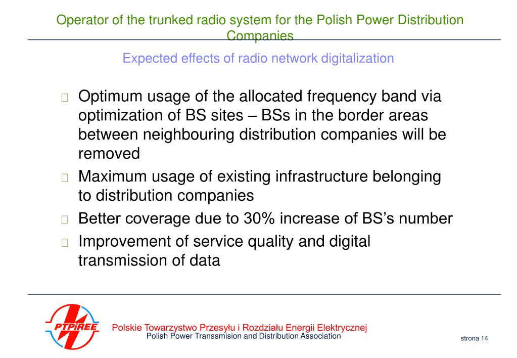 Expected effects of radio network digitalization