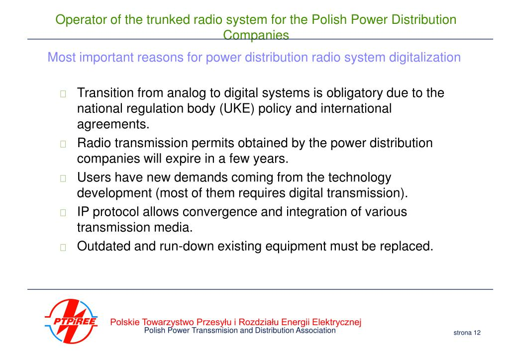 Most important reasons for power distribution radio system digitalization