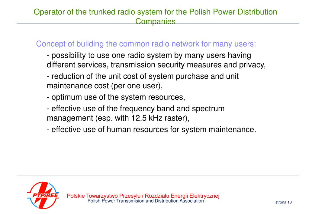 Concept of building the common radio network for many users: