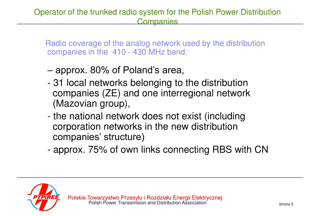 Radio coverage of the analog network used by the distribution companies in the  410 - 430 MHz band:
