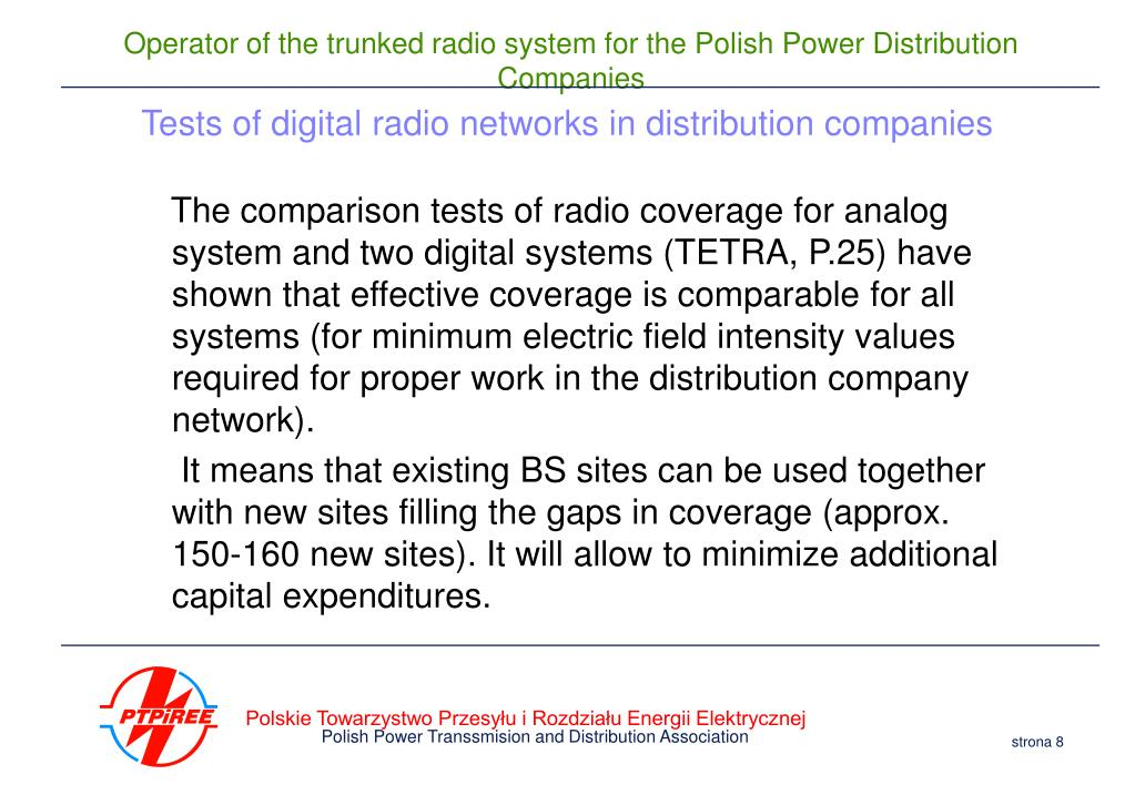 Tests of digital radio networks in distribution companies