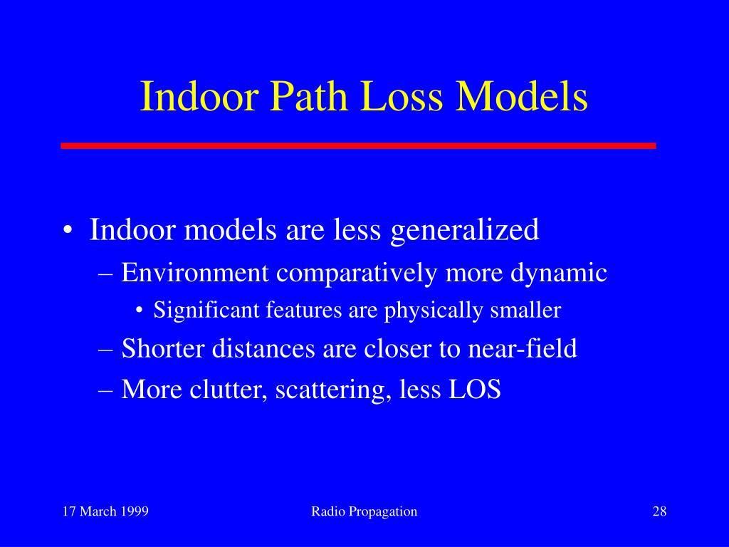 Indoor Path Loss Models