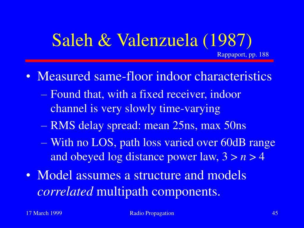 Saleh & Valenzuela (1987)