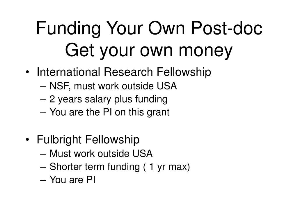 Funding Your Own Post-doc