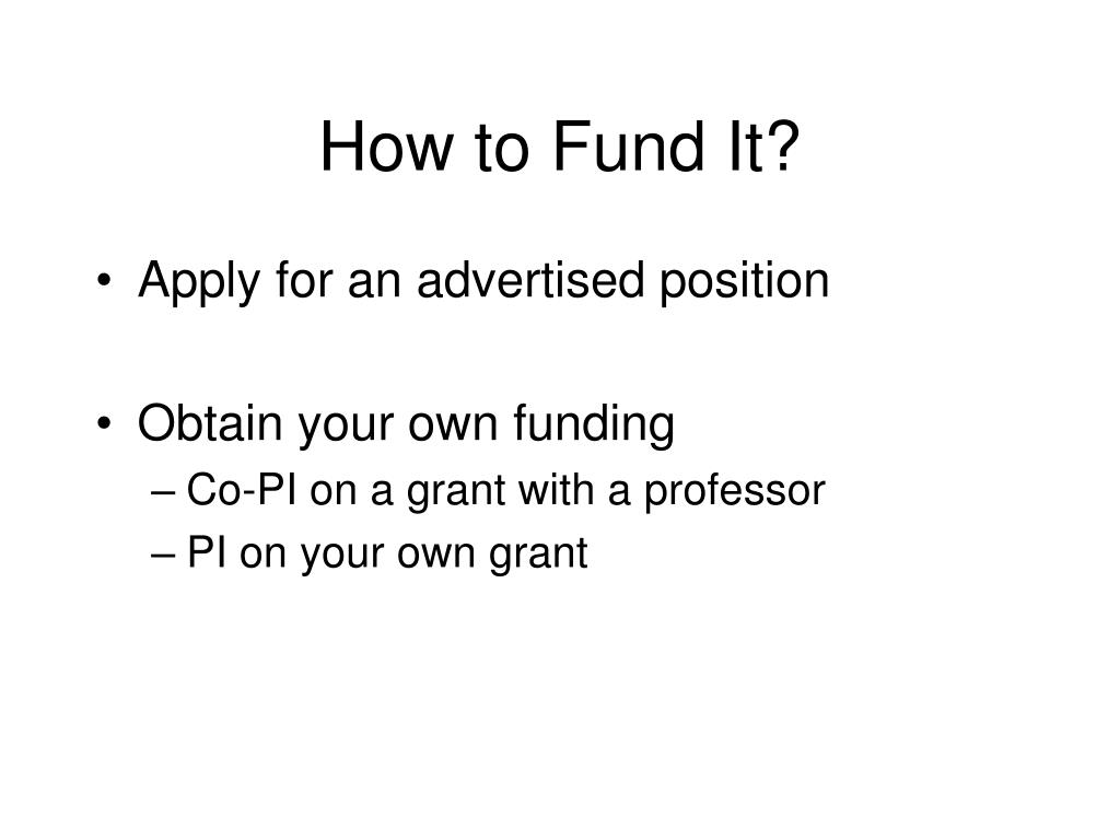 How to Fund It?