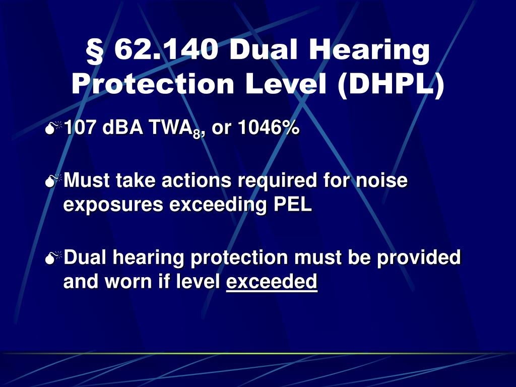 § 62.140 Dual Hearing Protection Level (DHPL)