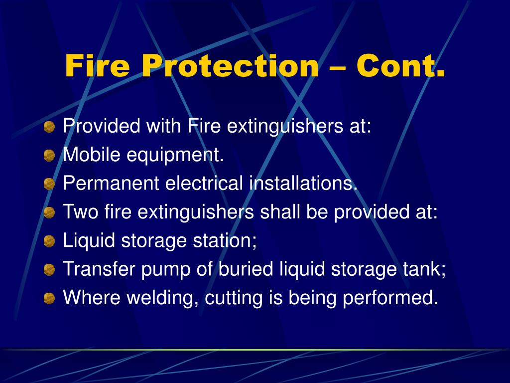 Fire Protection – Cont.