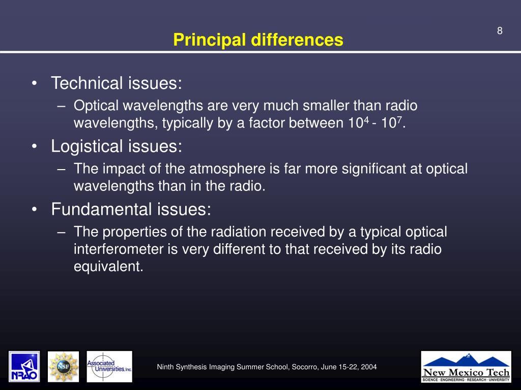 Principal differences