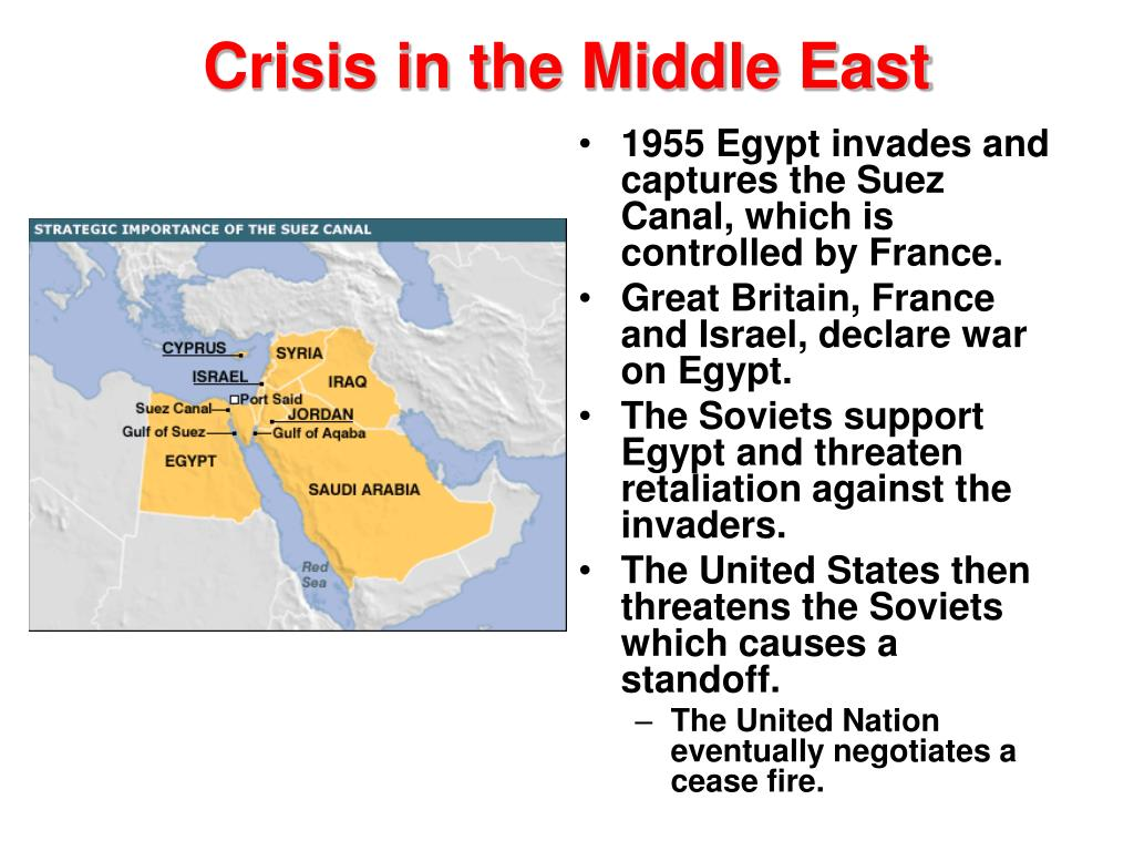 1955 Egypt invades and captures the Suez Canal, which is controlled by France.