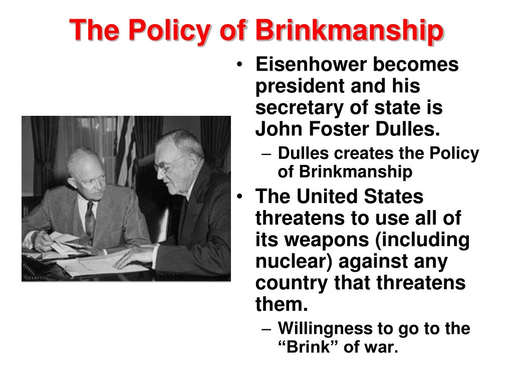 Eisenhower becomes president and his secretary of state is John Foster Dulles.