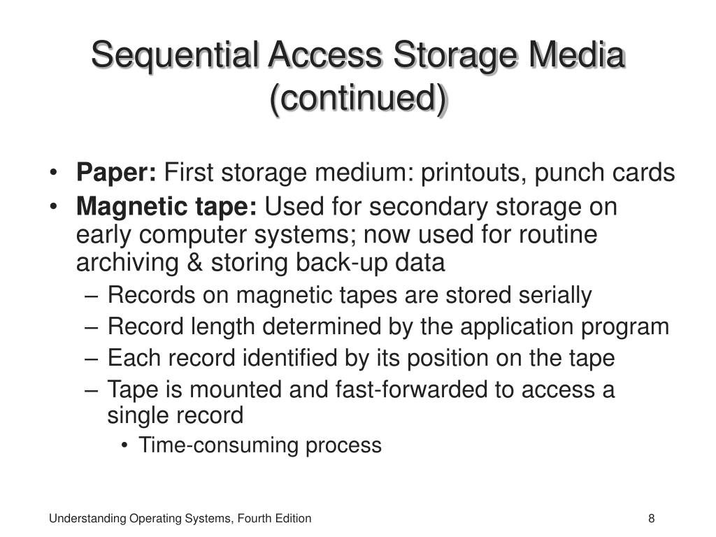 Sequential Access Storage Media