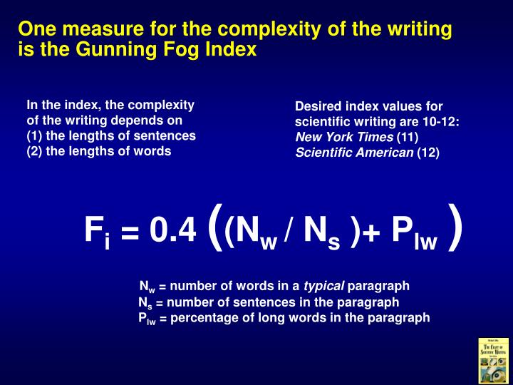 One measure for the complexity of the writing