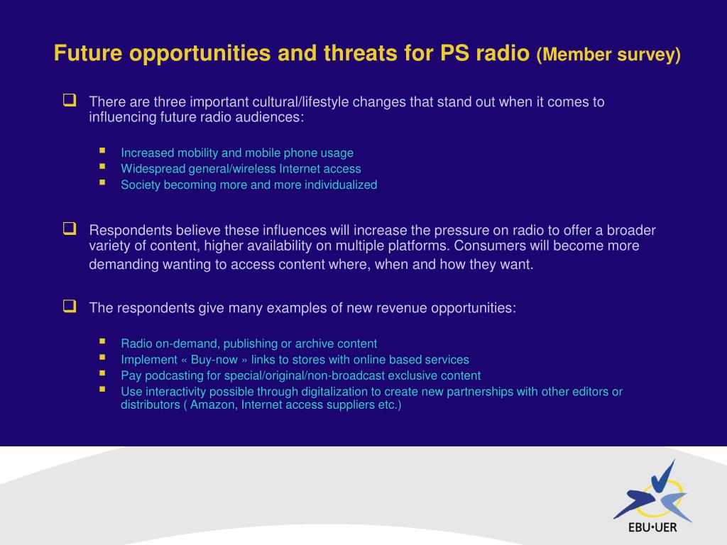 Future opportunities and threats for PS radio