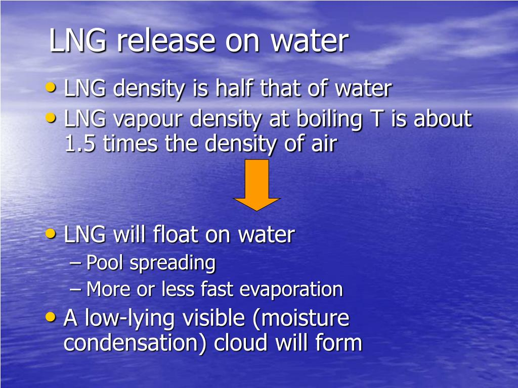 LNG release on water