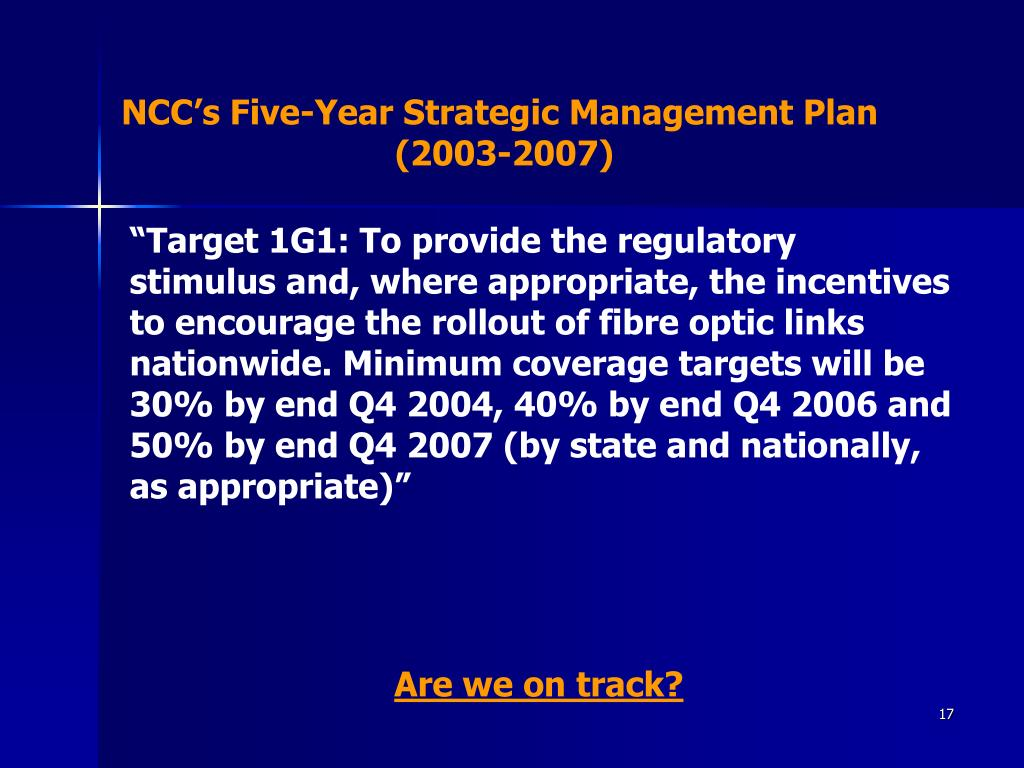 NCC's Five-Year Strategic Management Plan