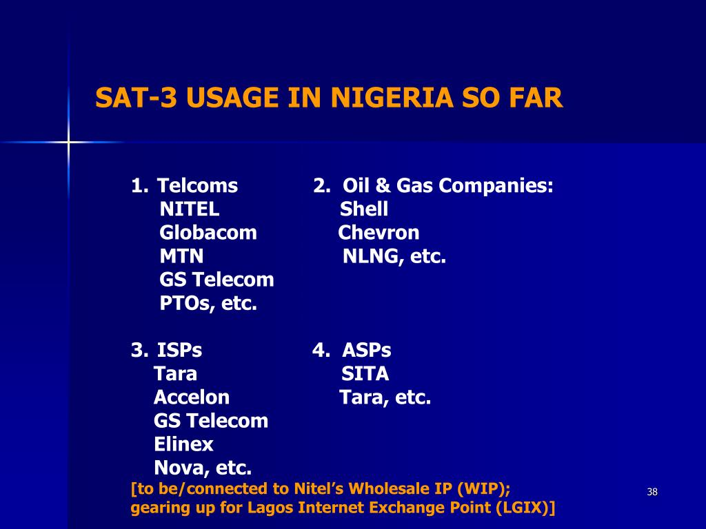 SAT-3 USAGE IN NIGERIA SO FAR