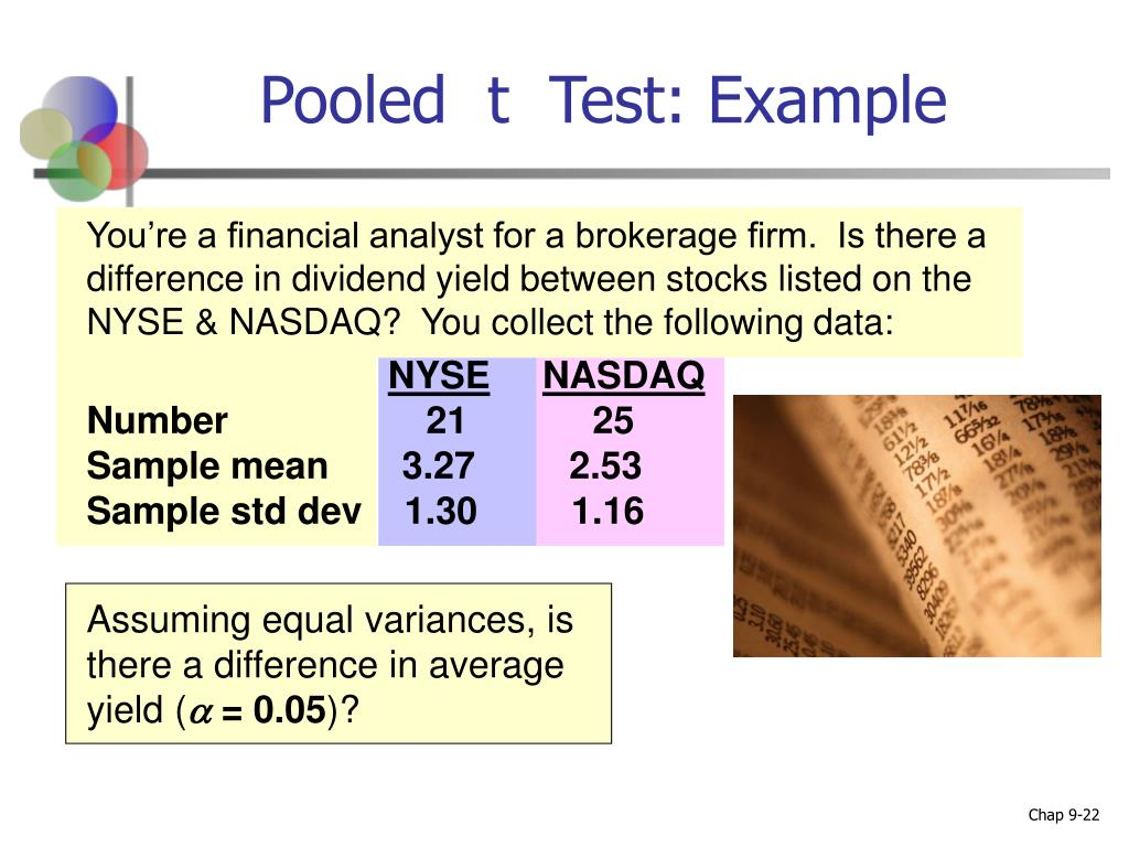 You're a financial analyst for a brokerage firm.  Is there a difference in dividend yield between stocks listed on the NYSE & NASDAQ?  You collect the following data:
