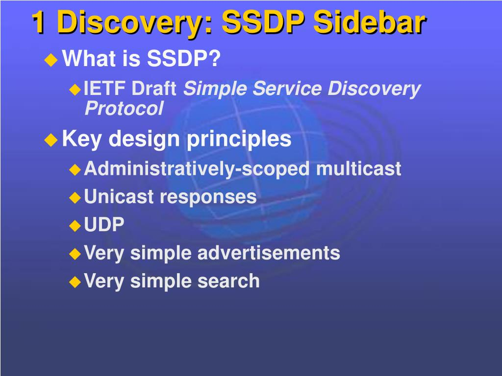 1 Discovery: SSDP Sidebar