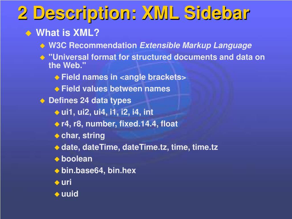 2 Description: XML Sidebar