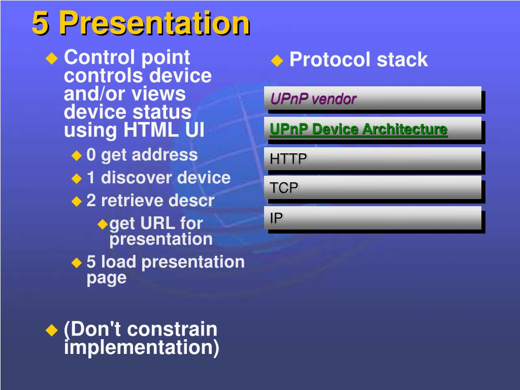 Control point controls device and/or views device status using HTML UI