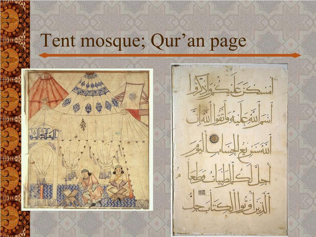 Tent mosque; Qur'an page