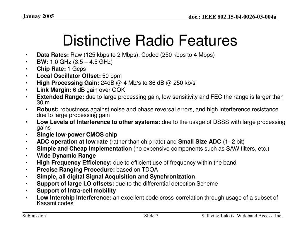 Distinctive Radio Features