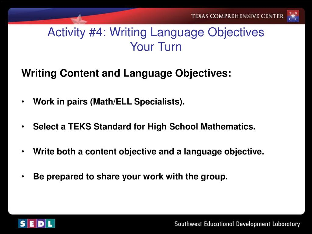 Activity #4: Writing Language Objectives