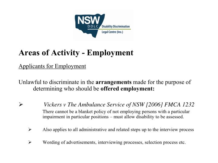 Areas of Activity - Employment