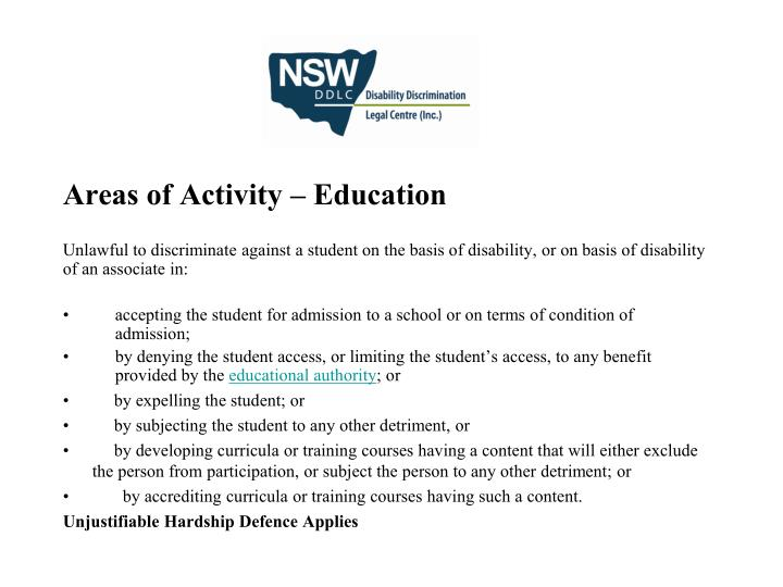 Areas of Activity – Education