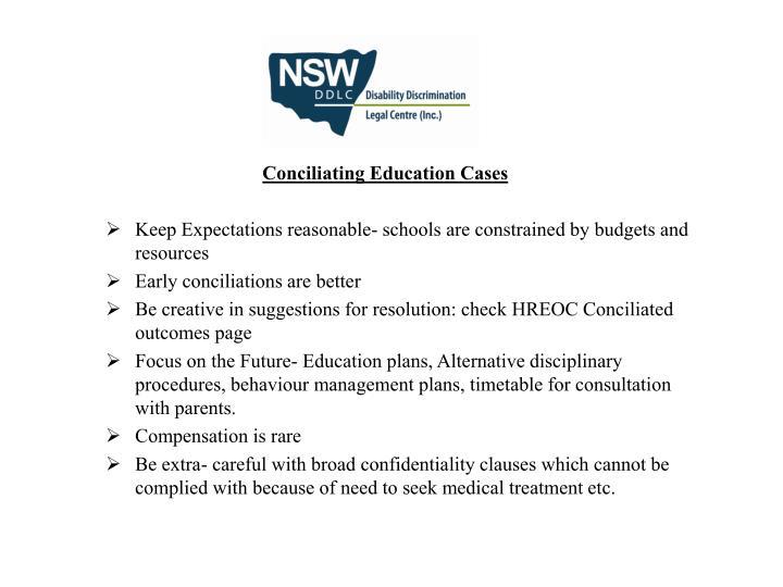 Conciliating Education Cases