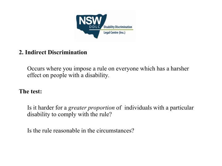 2. Indirect Discrimination