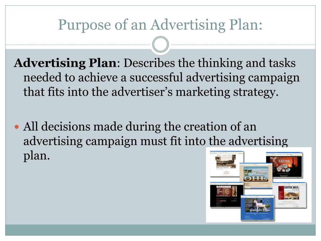 Purpose of an Advertising Plan: