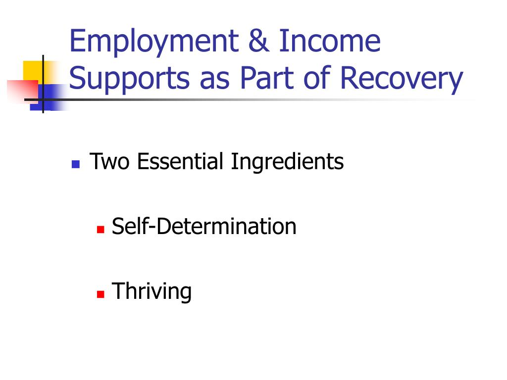 Employment & Income Supports as Part of Recovery