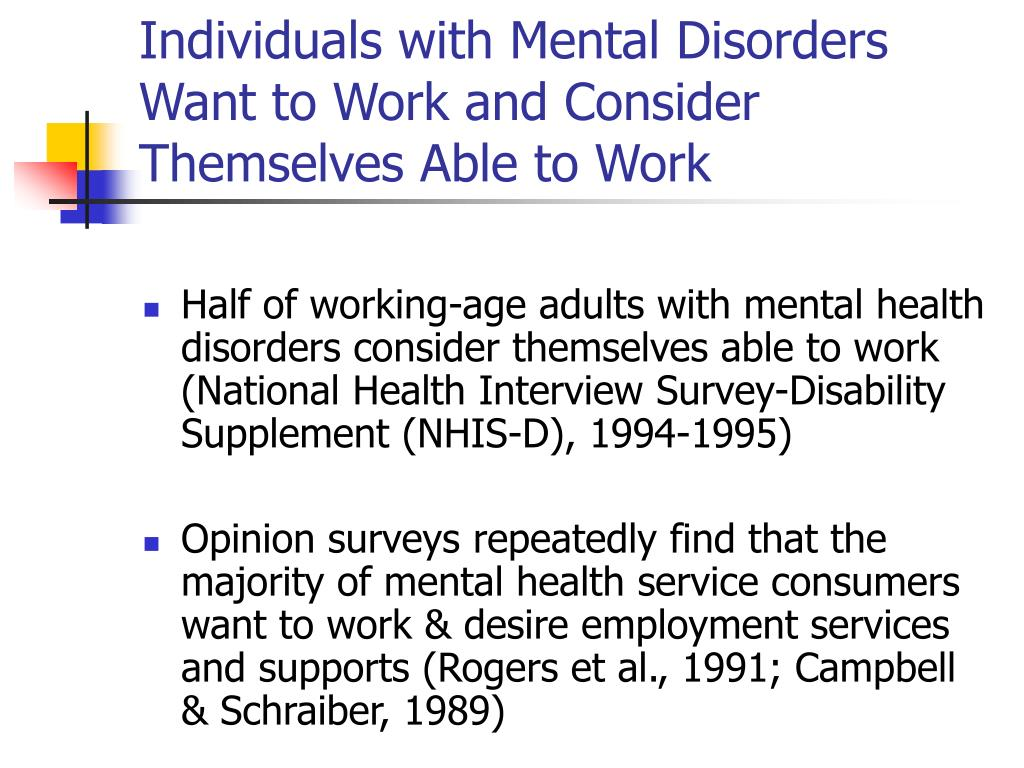 Individuals with Mental Disorders Want to Work and Consider Themselves Able to Work