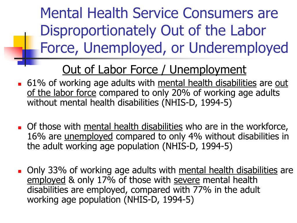 Mental Health Service Consumers are Disproportionately Out of the Labor Force, Unemployed, or Underemployed