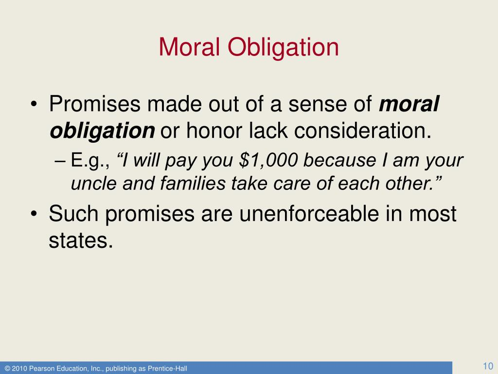 what is moral obligation Moral obligations toward the future i introduction until now our ethical considerations have typically involved our interactions with people such as family .