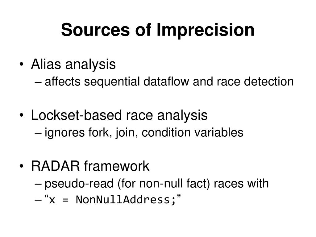 Sources of Imprecision