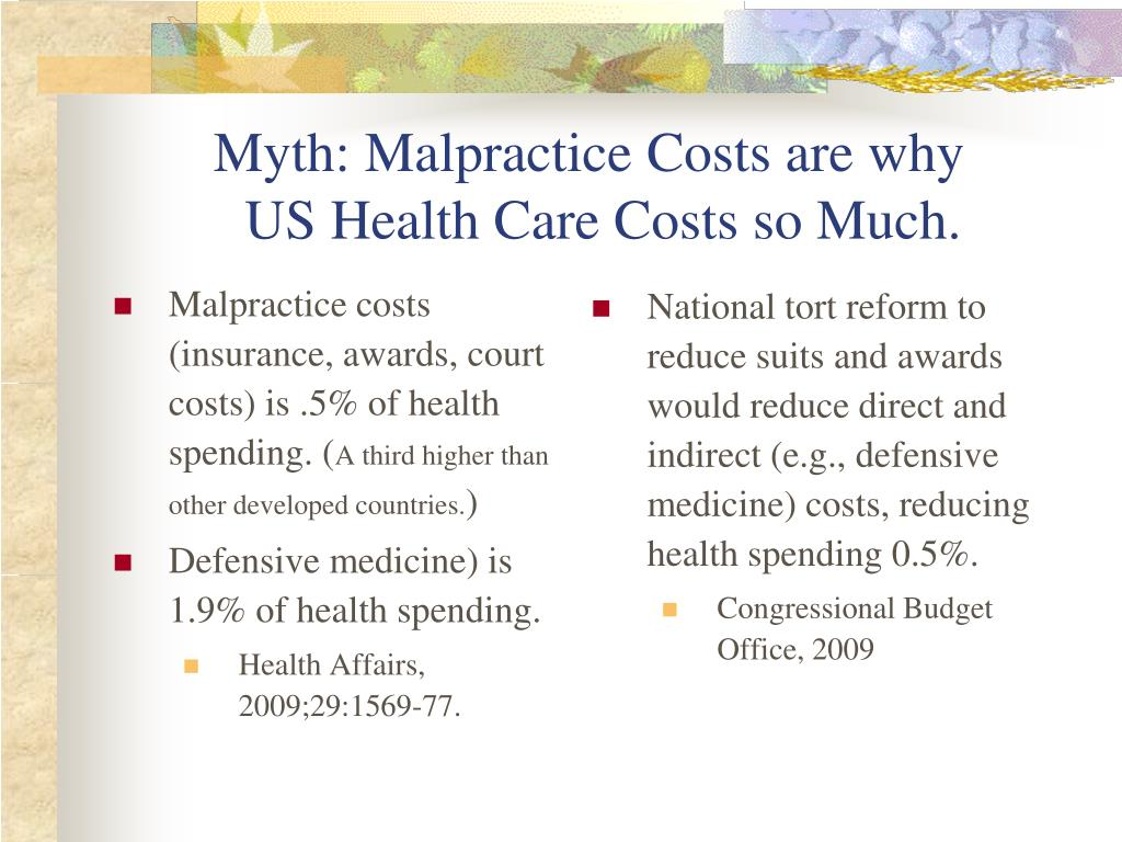 Myth: Malpractice Costs are why