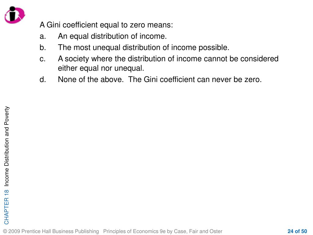 A Gini coefficient equal to zero means: