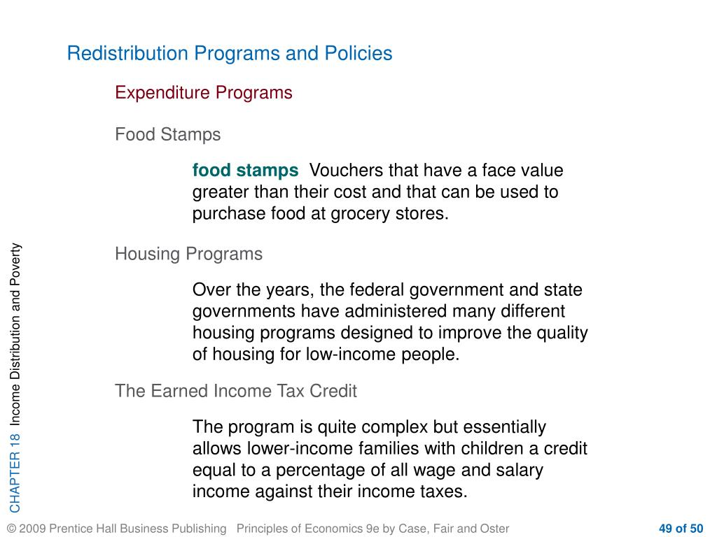Redistribution Programs and Policies
