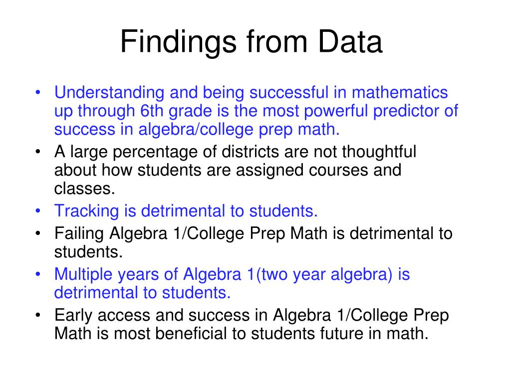 Findings from Data
