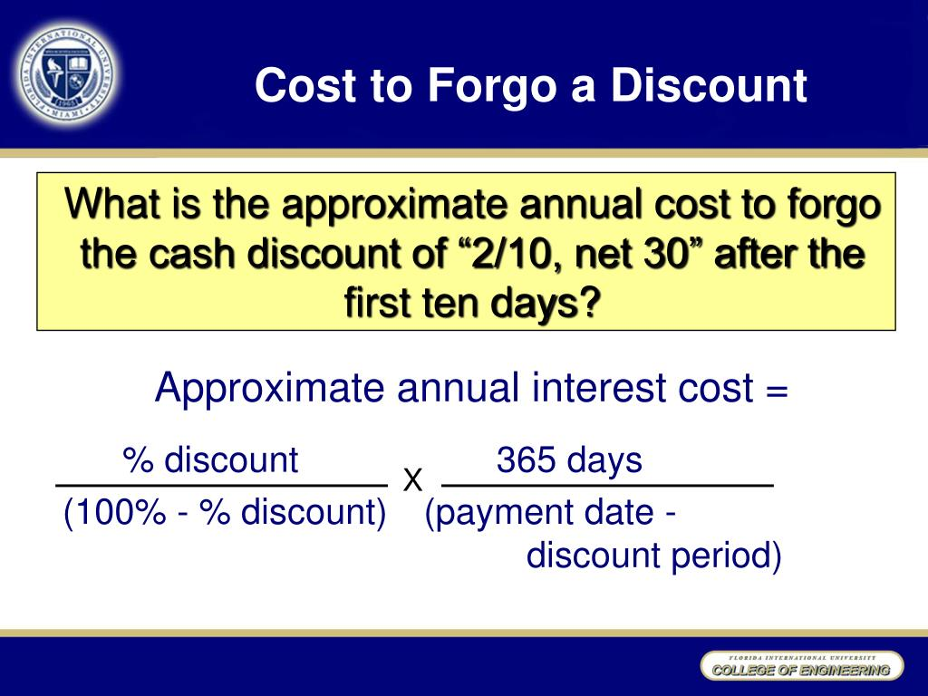 Cost to Forgo a Discount