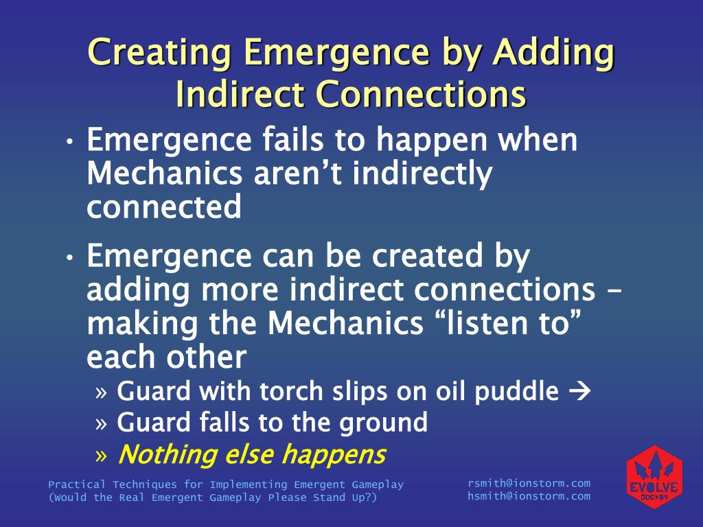 Creating Emergence by Adding Indirect Connections