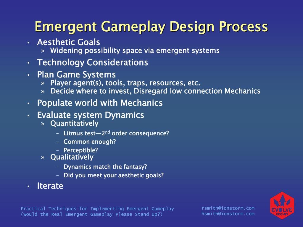 Emergent Gameplay Design Process