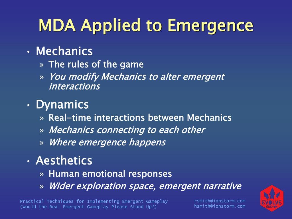 MDA Applied to Emergence