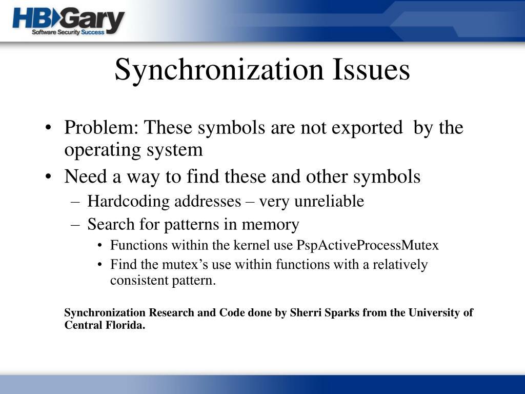 Synchronization Issues